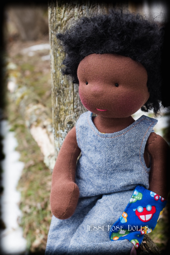 black waldorf doll